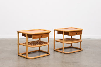 Pair of 1970s teak + bamboo bedside tables