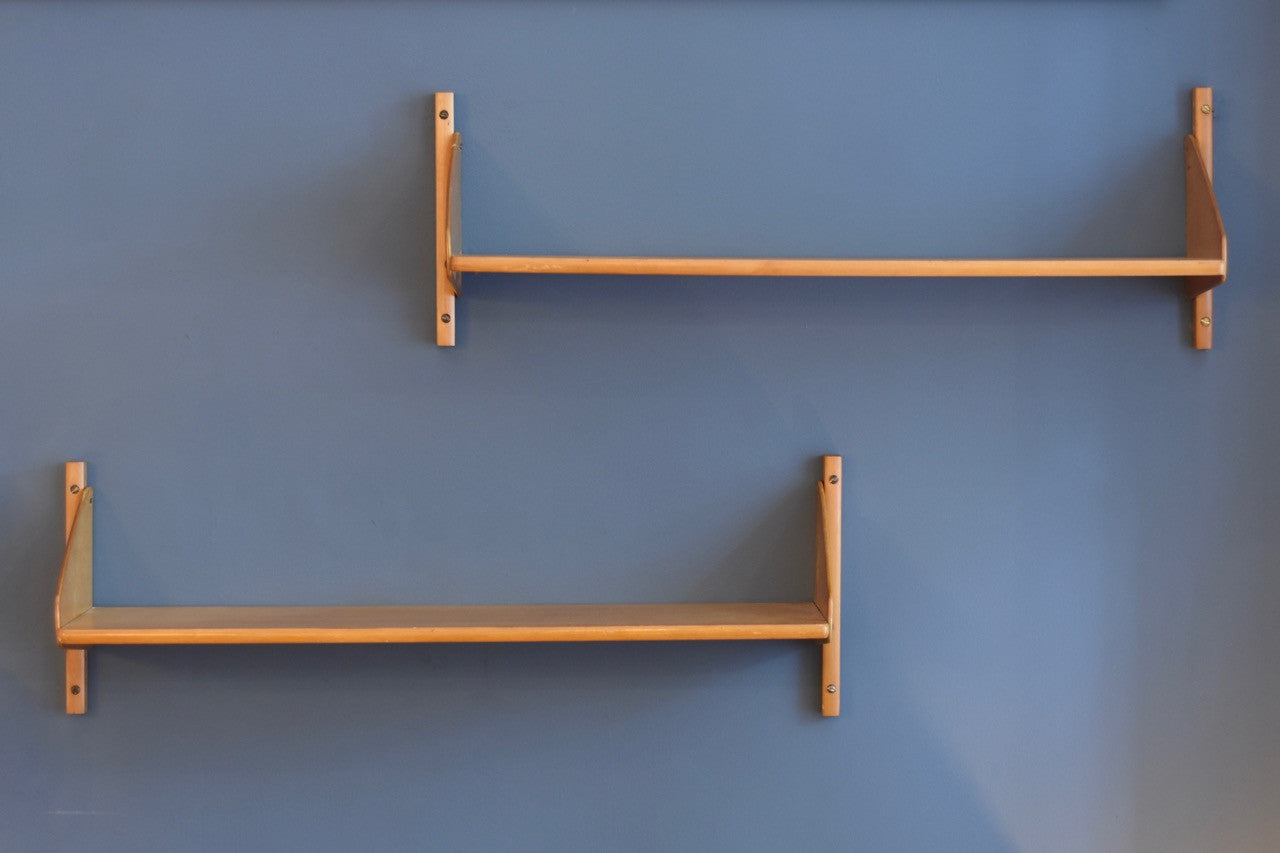 Not specified Just in: Pair of beech shelves
