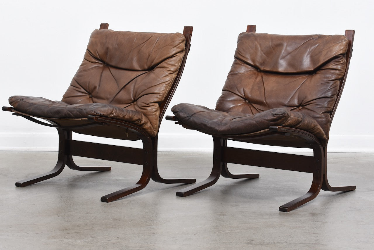 Two available: 1970s leather Siesta chairs