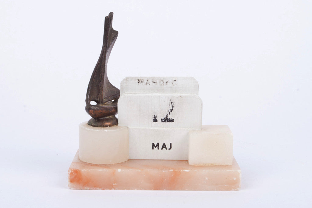 Three piece marble desk set
