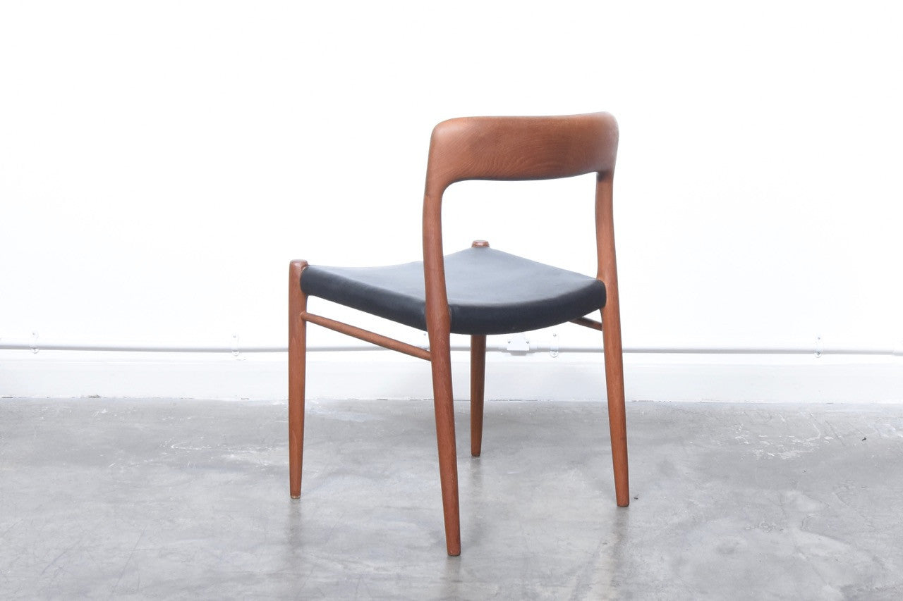 Two available: Model 75 teak chairs by J.L. Møller