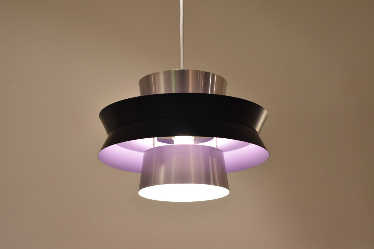 Brushed aluminium and lilac ceiling light
