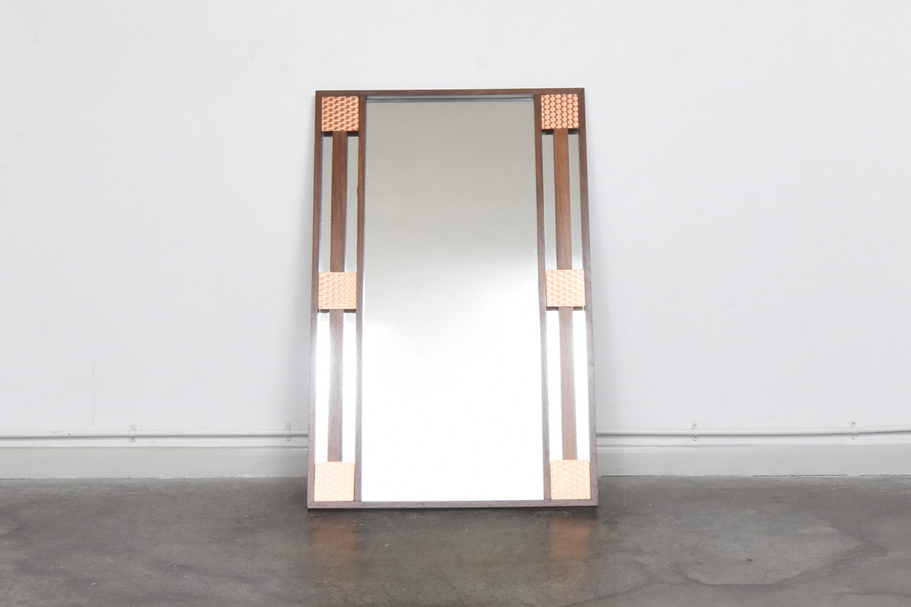 Large rosewood + copper mirror