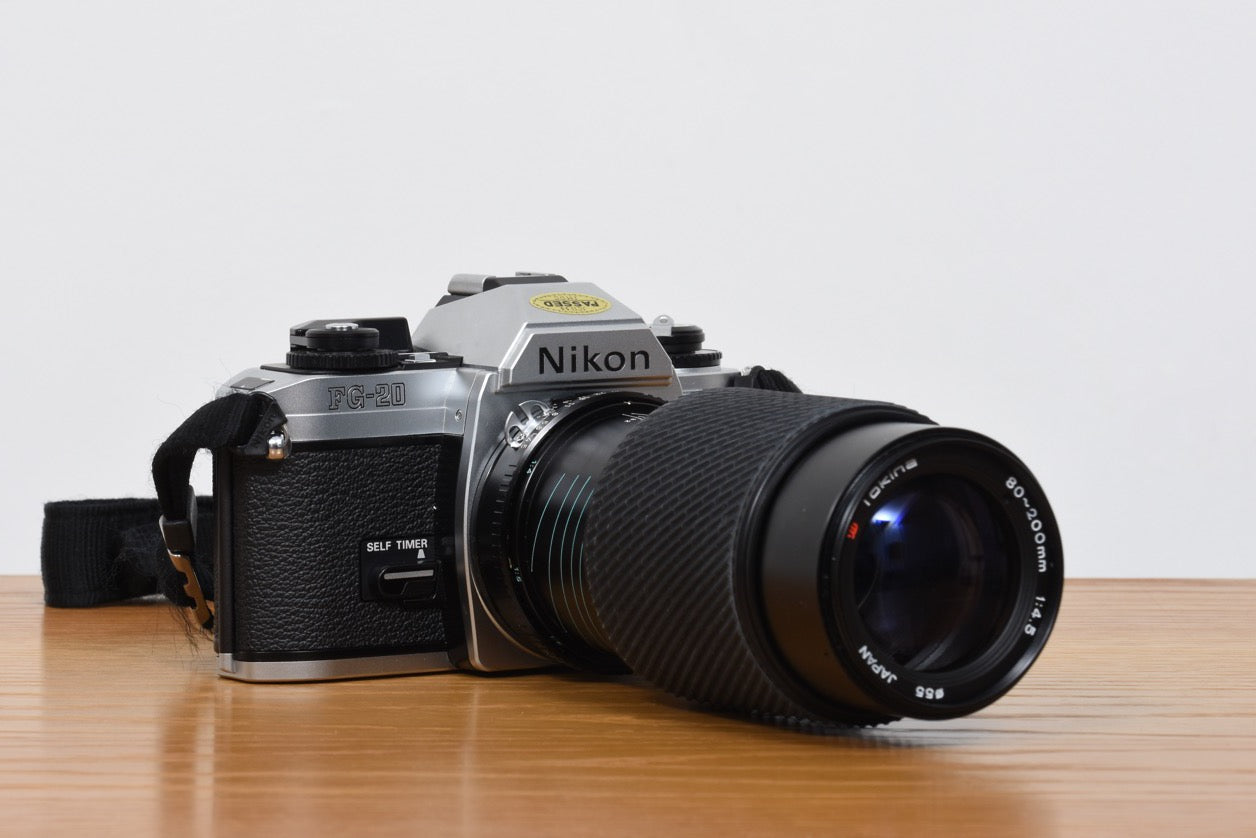 FG-20 SLR camera + lenses by Nikon