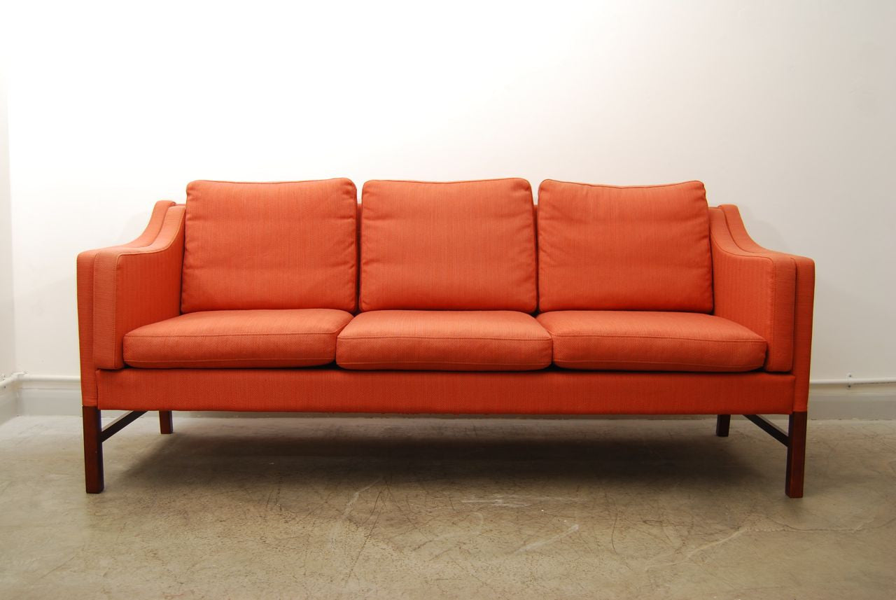 Chase & Sorensen Rose wool three seat sofa in style of Mogensen