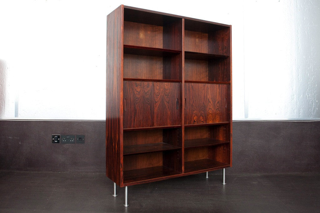Rosewood bookshelf on steel legs