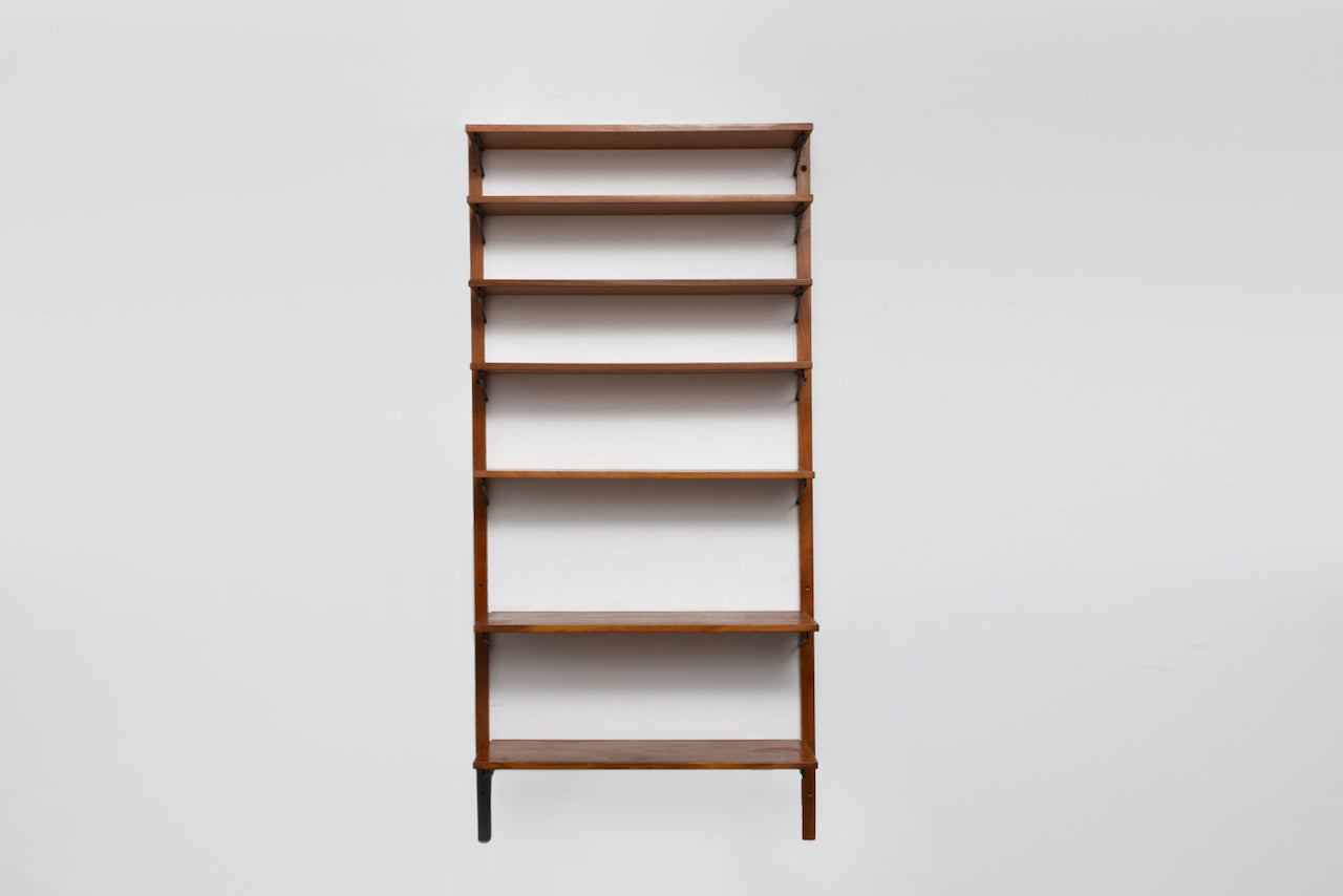 Single bay of teak shelves