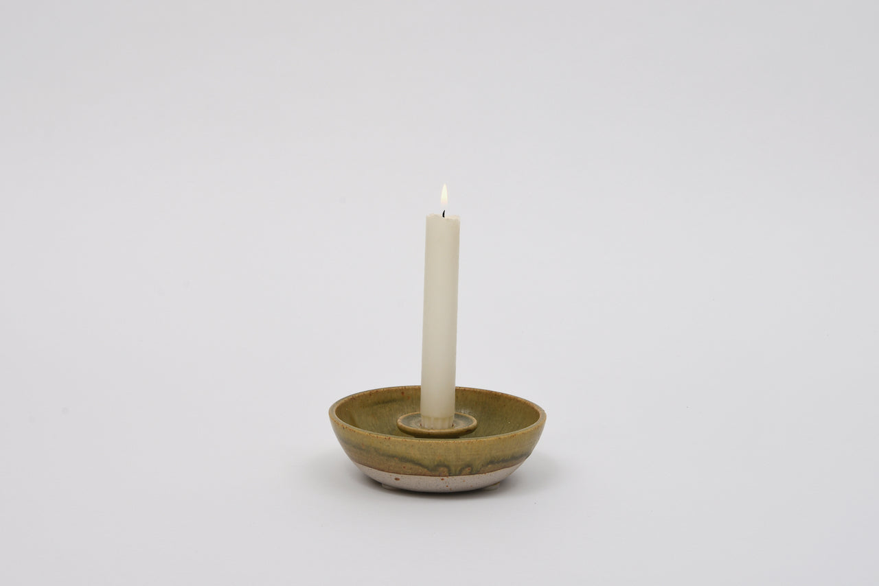 Stoneware ceramic candle holder