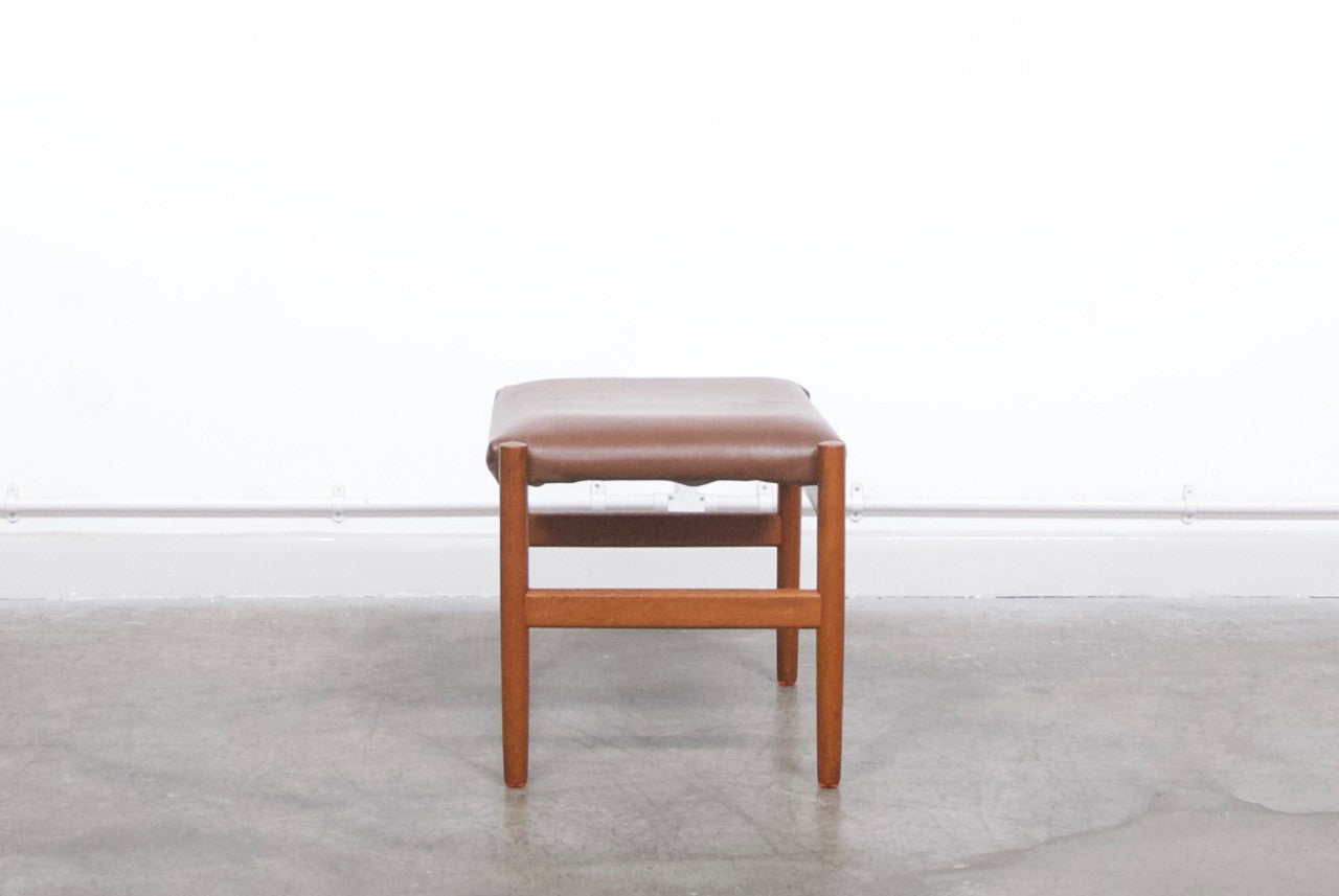 Leather and teak foot stool