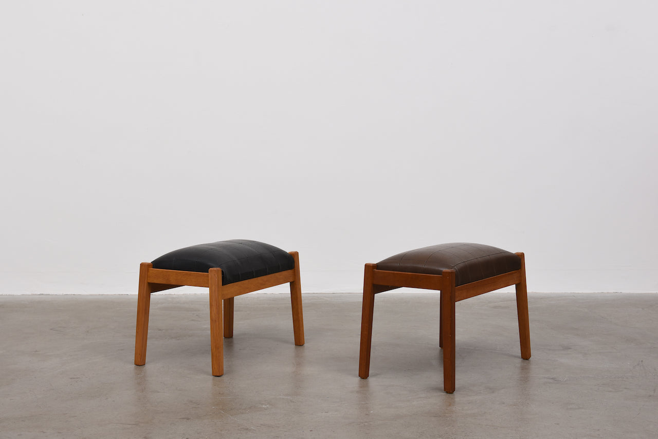 Two available: Vintage leather foot stools