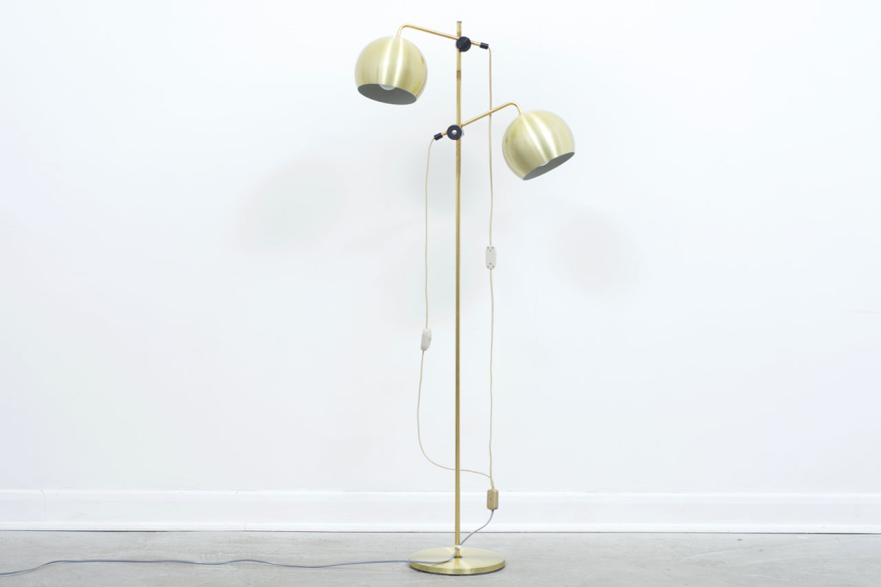 Vintage brass floor lamp with domed shades