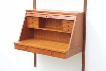Wall-mounted teak secretary with shelves