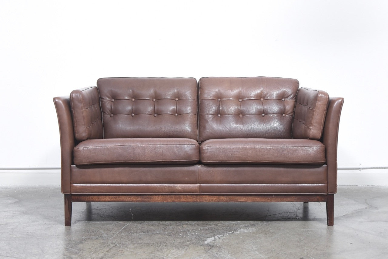 Danish two seat leather sofa