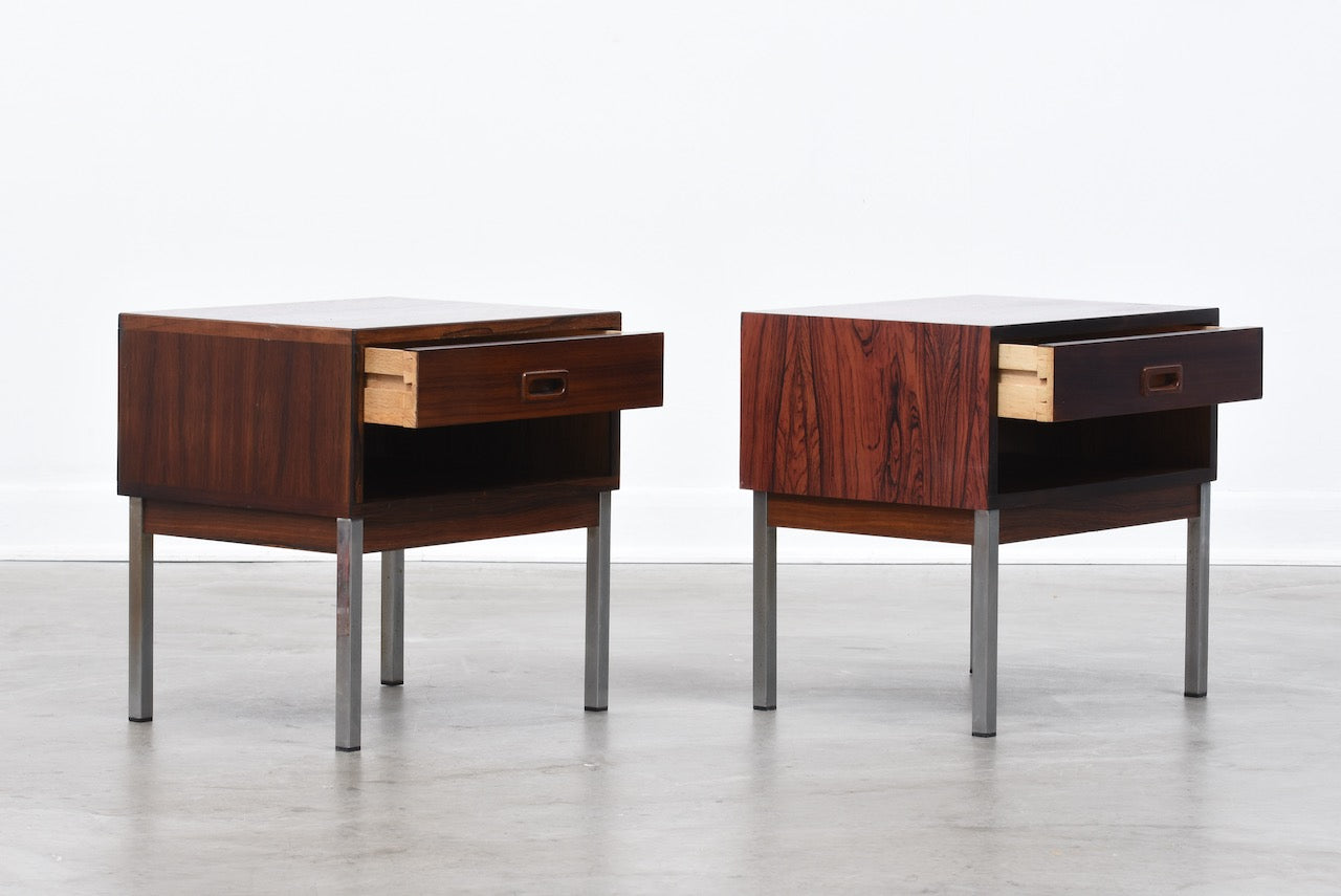 Pair of rosewood bedside tables by Nipu
