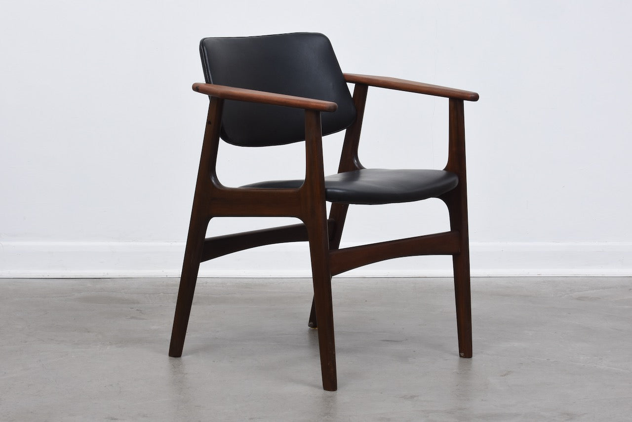 Beech + leather armchair by Eric Buch