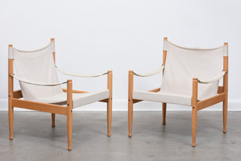 Two available: Beech + canvas safari chairs by Eric Wørts