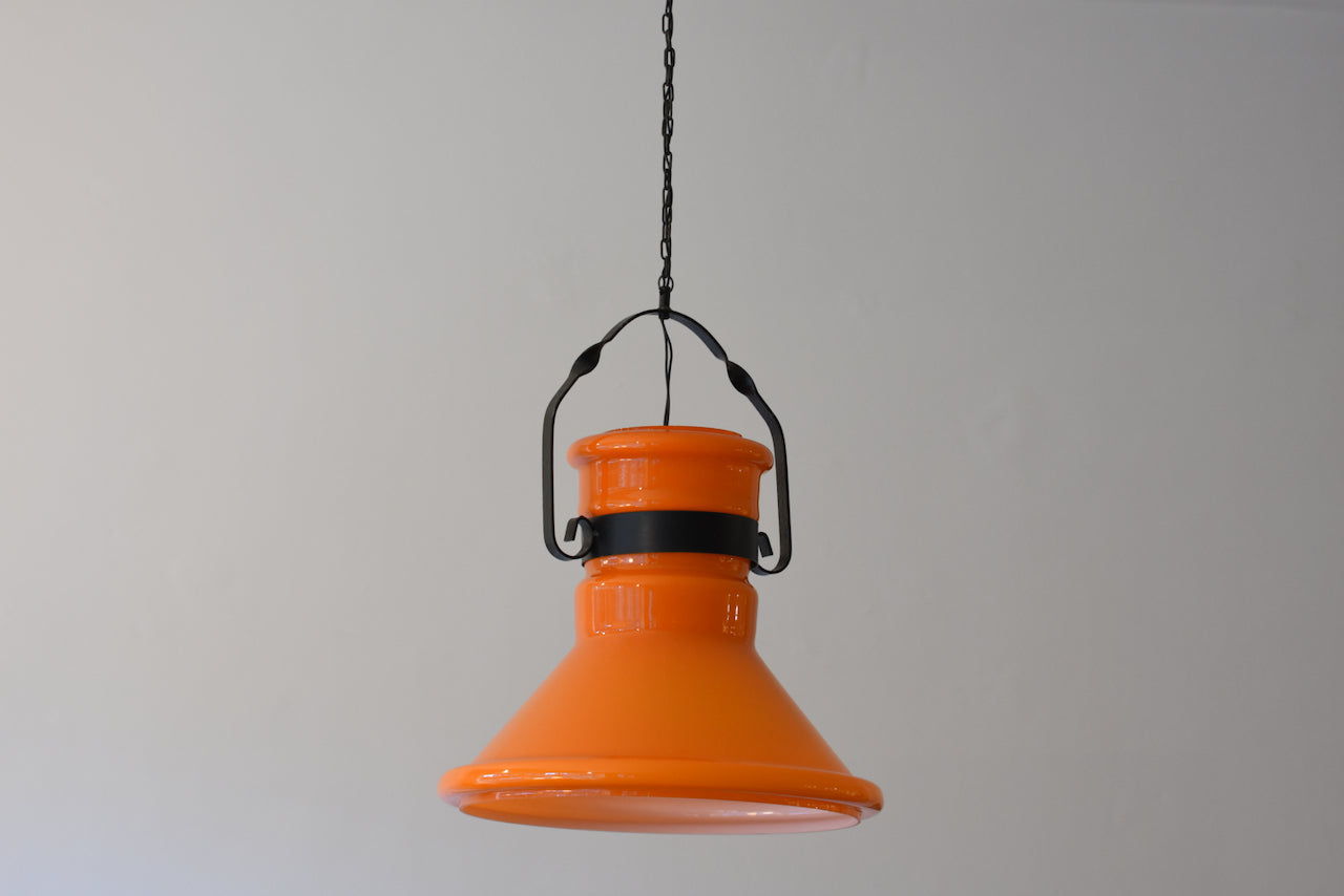 Large 1970s orange glass ceiling lamp