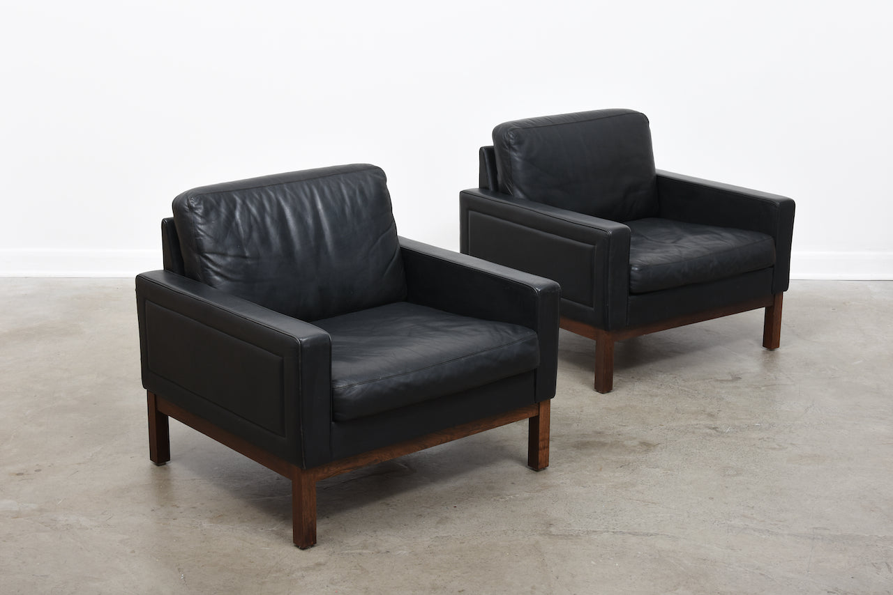 Two available: 1960s leather loungers by ASKO