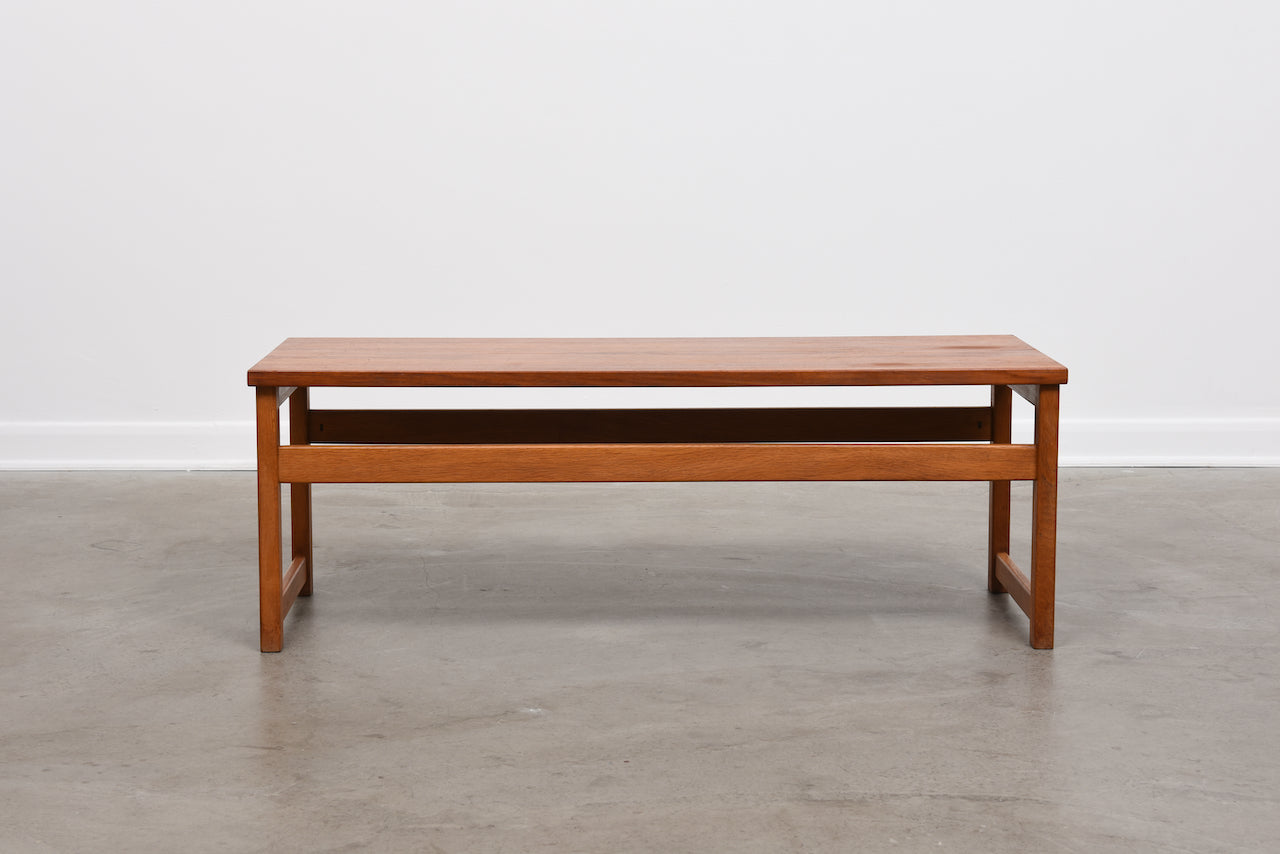 1960s teak + oak bench / coffee table