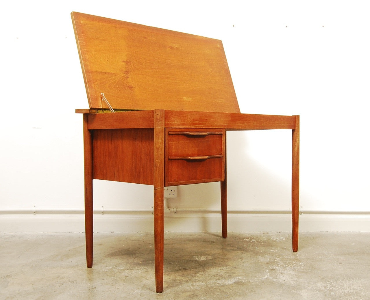 Single pedestal teak desk