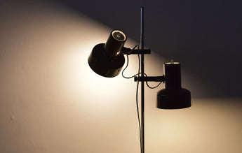 Twin-headed floor lamp with brown shades