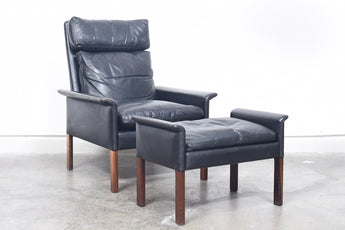 Leather lounger + ottoman by Hans Olsen