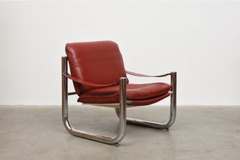 1980s steel + leather lounger by Norell Möbler