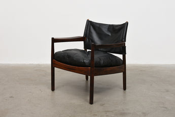 Rosewood + leather lounger by Gunnar Myrstrand