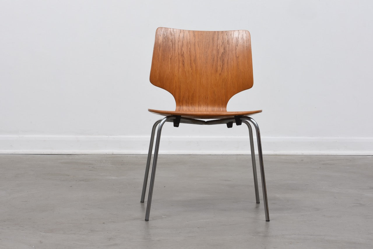 Six available: 1970s Danish stacking chairs