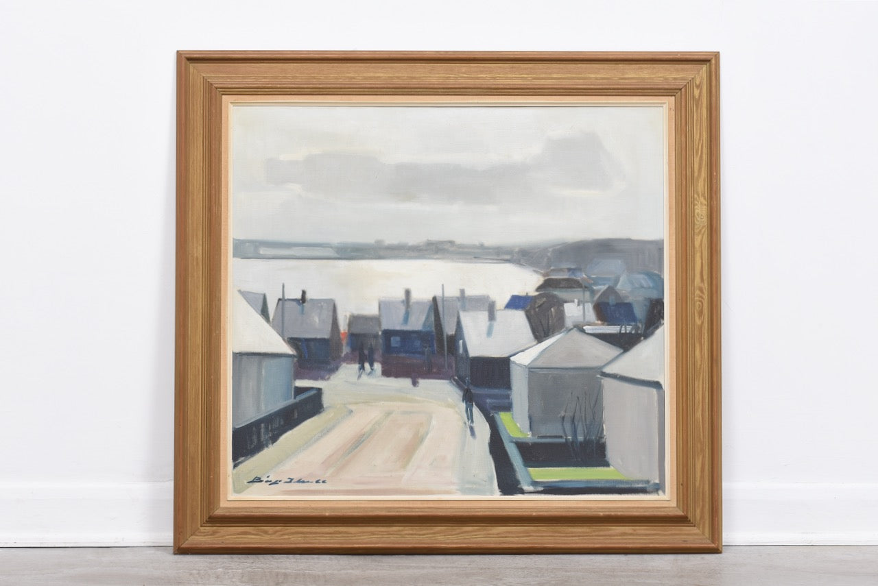1960s oil painting of Danish seaside village