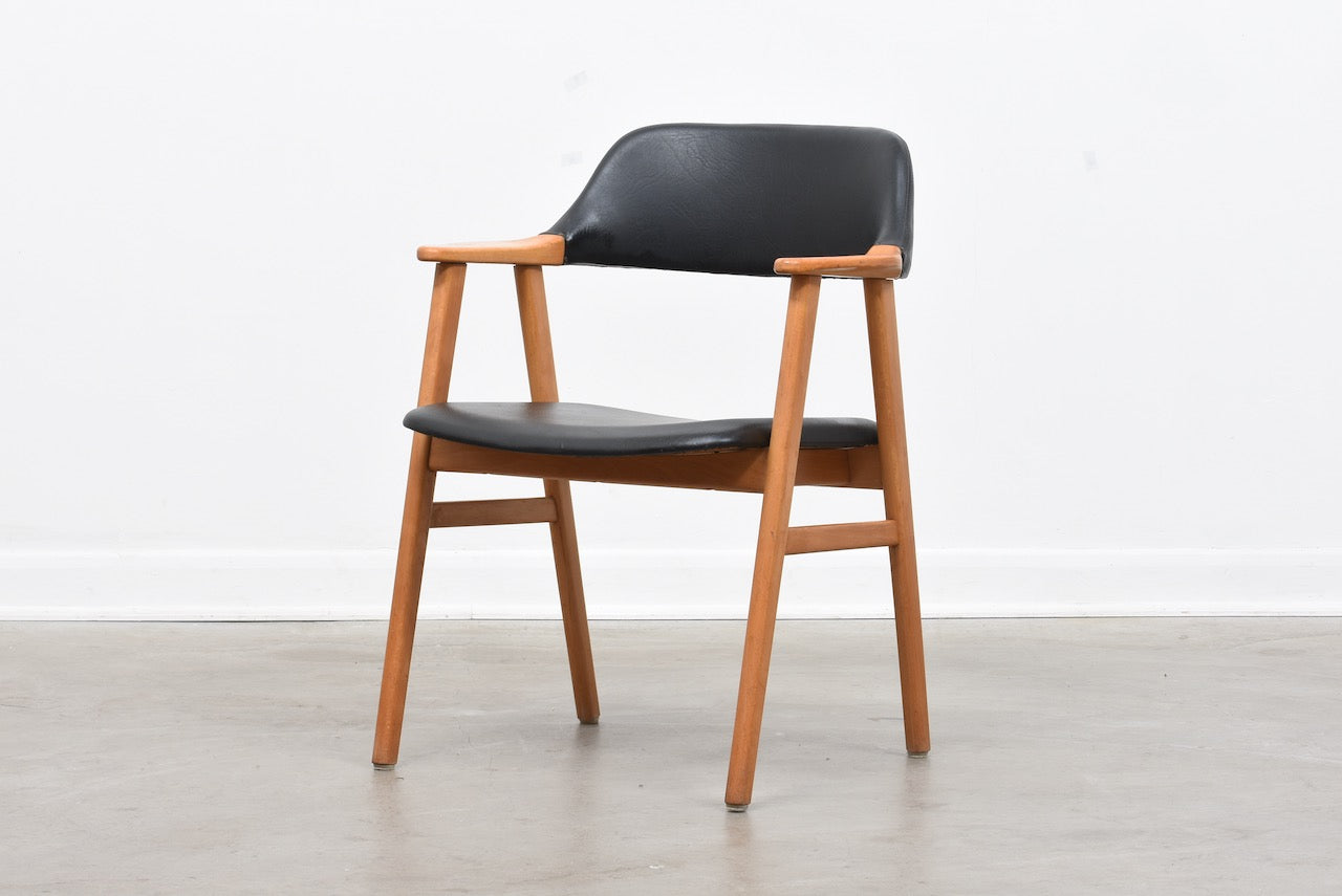 Six available: 1960s Swedish beech + vinyl armchairs