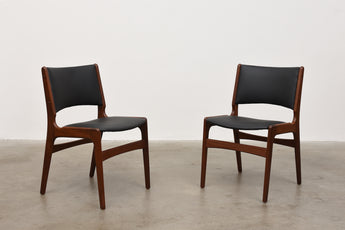 Two available: Teak + vinyl chairs by Erik Buch