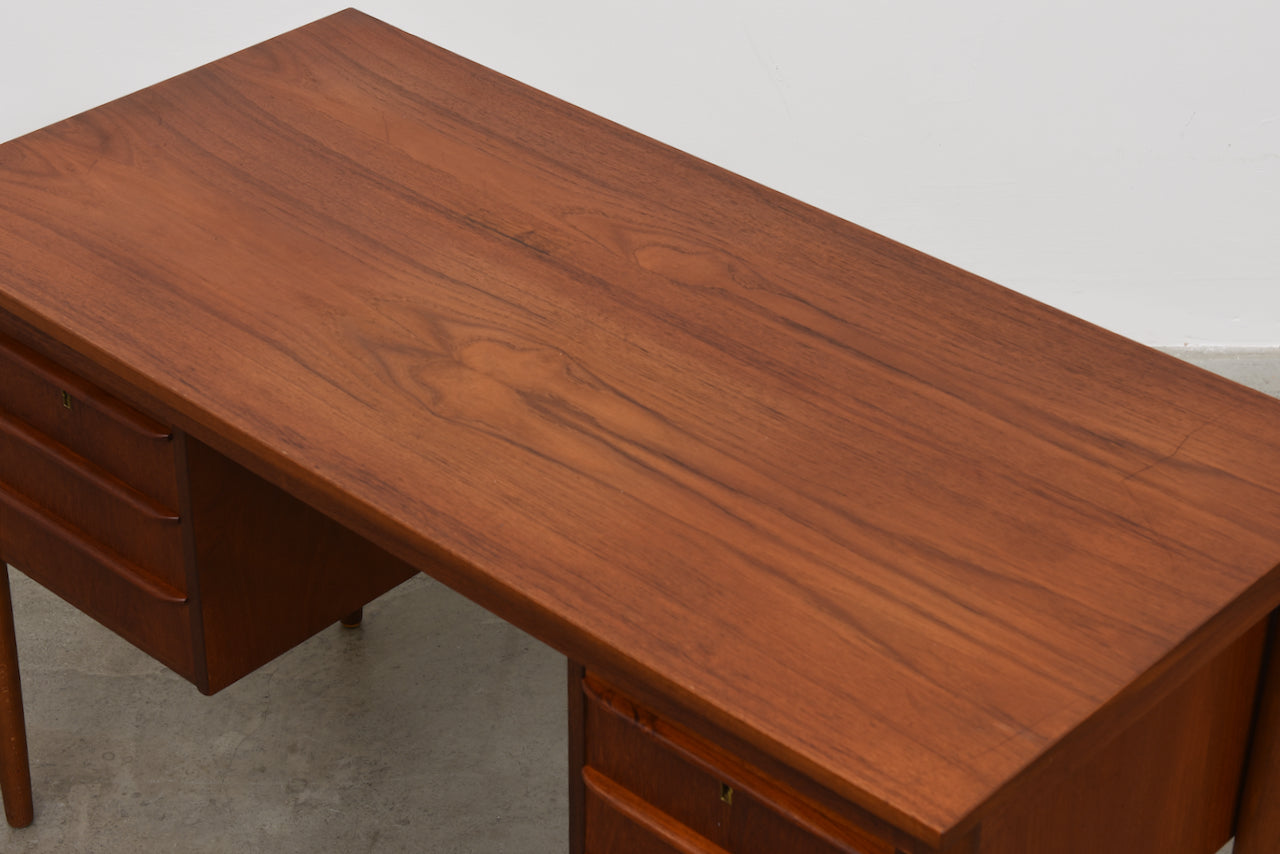 1960s twin pedestal desk in teak