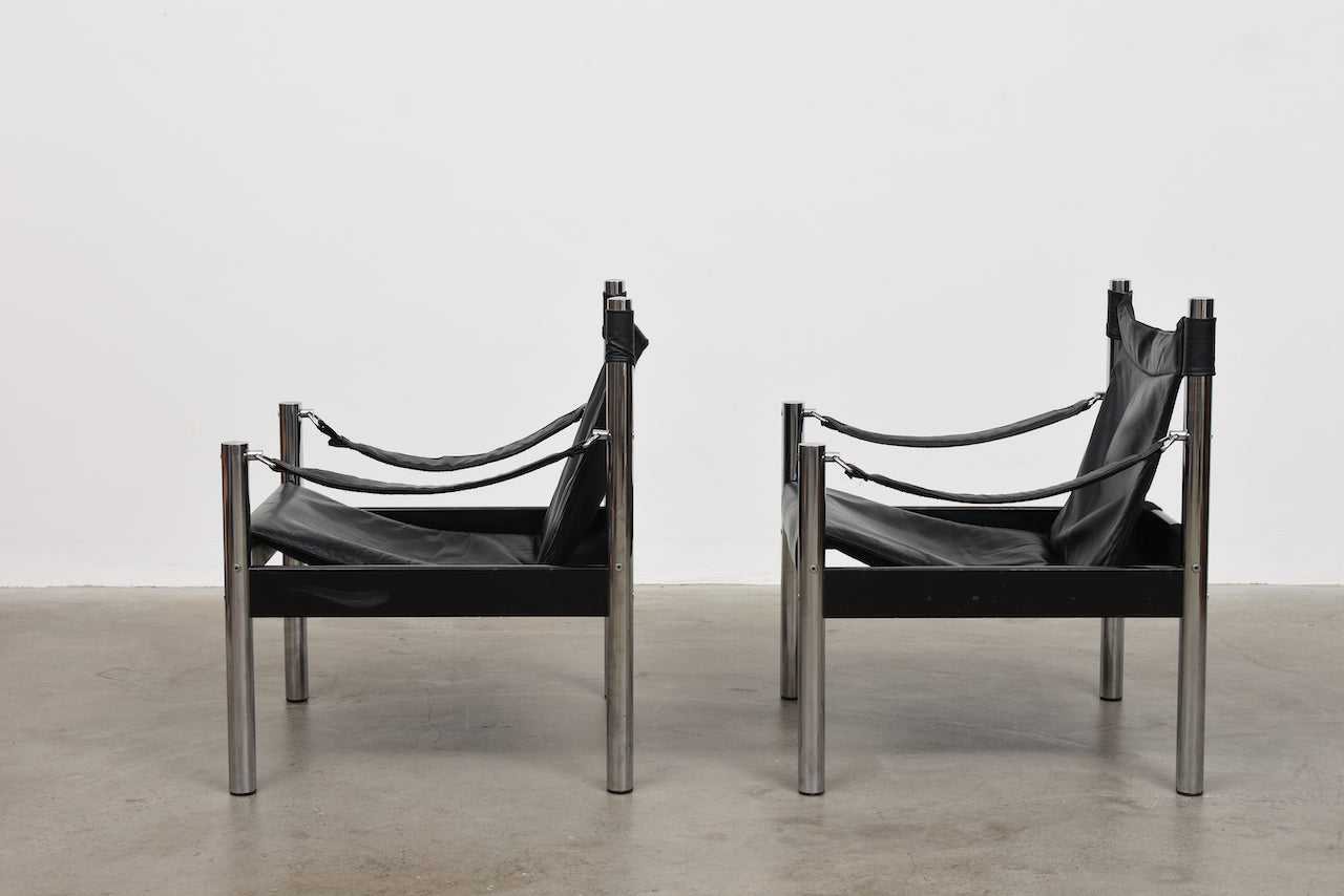 Two available: 1980s safari chairs by Börje Johanson