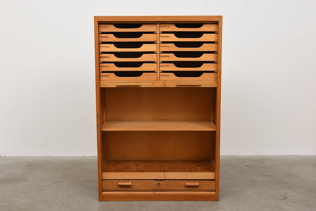 1950s oiled oak archive unit