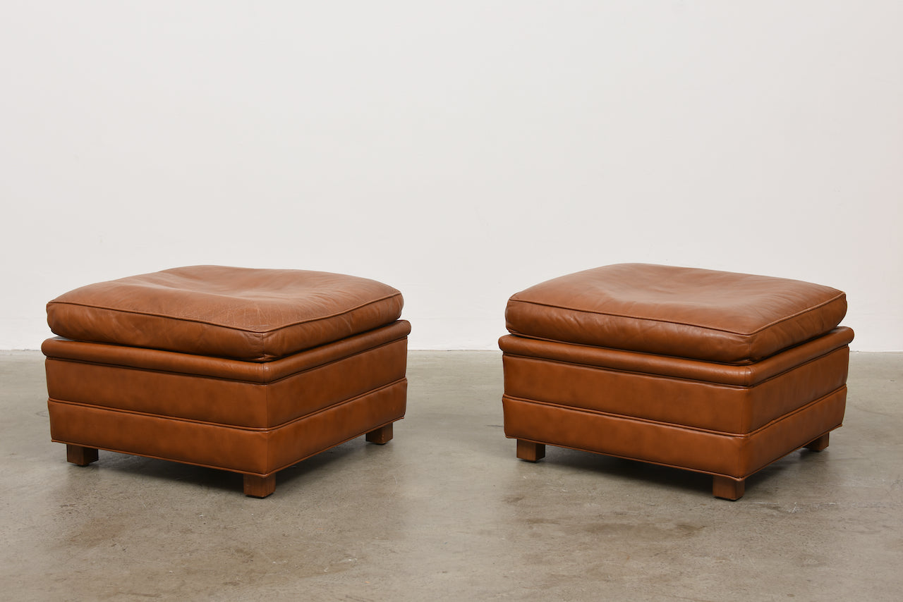 Two available: 1970s caramel leather ottomans