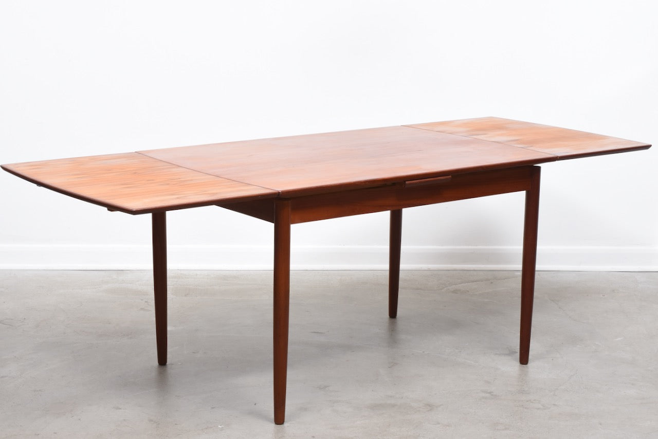 1960s extending teak dining table with curved sides