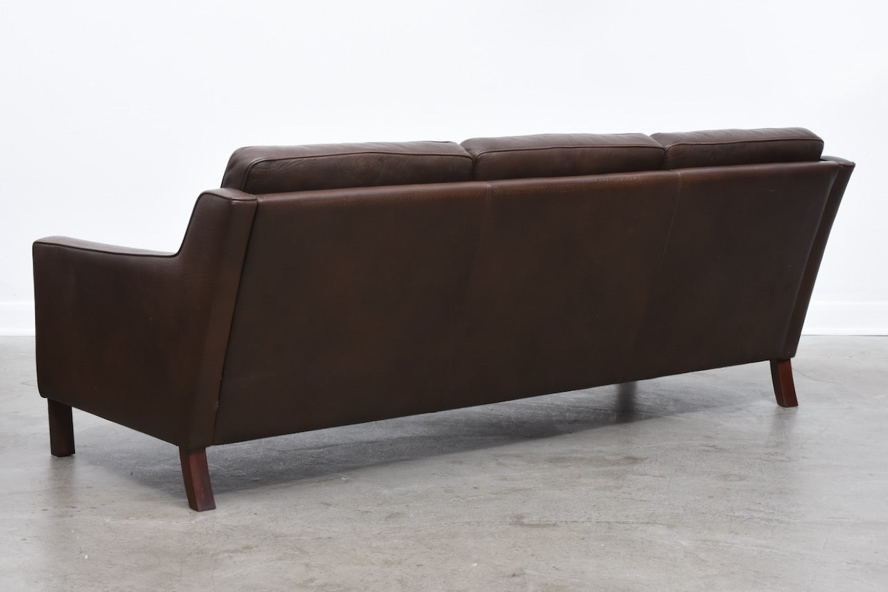 1960s three seat leather sofa