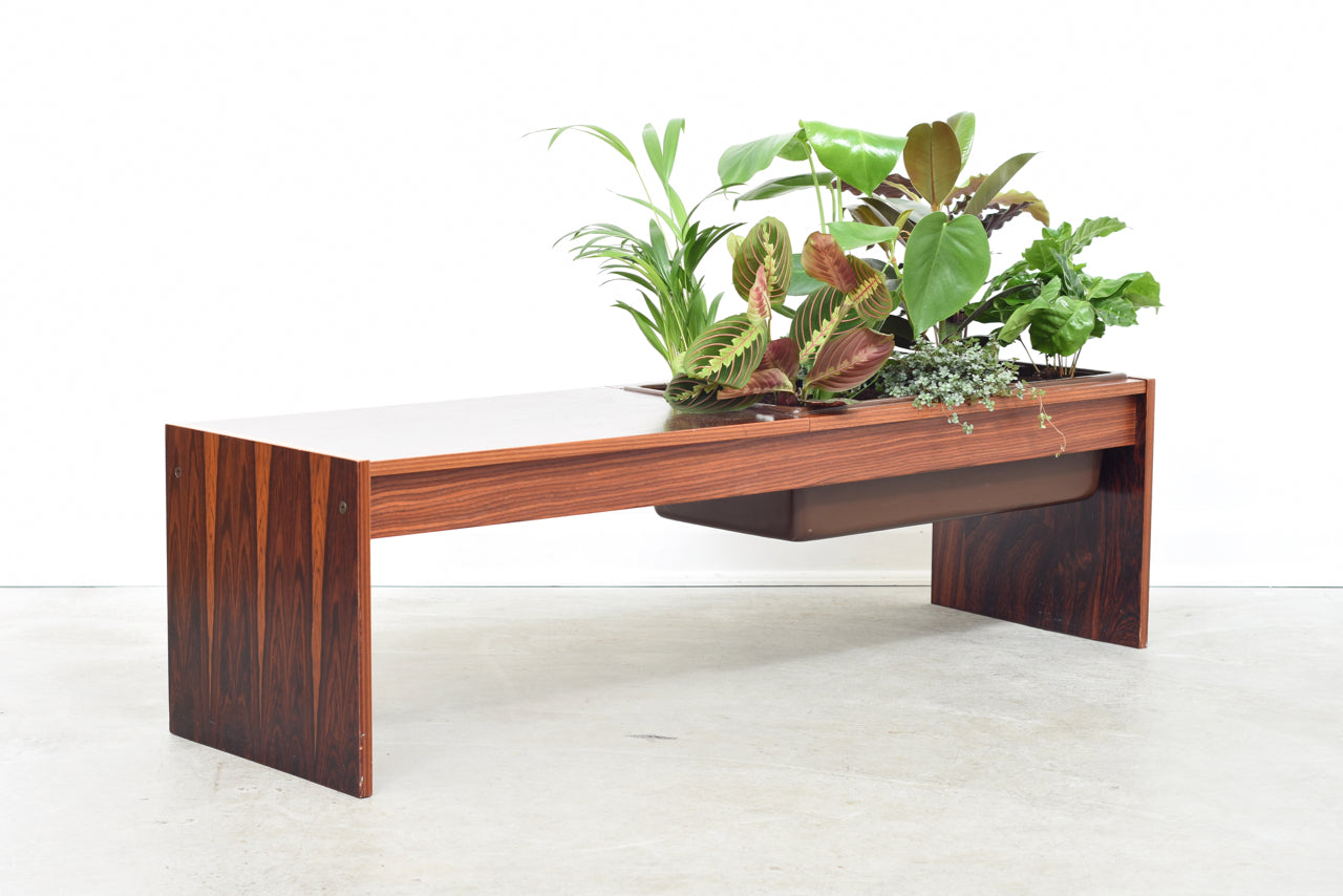 1970s rosewood table with planter