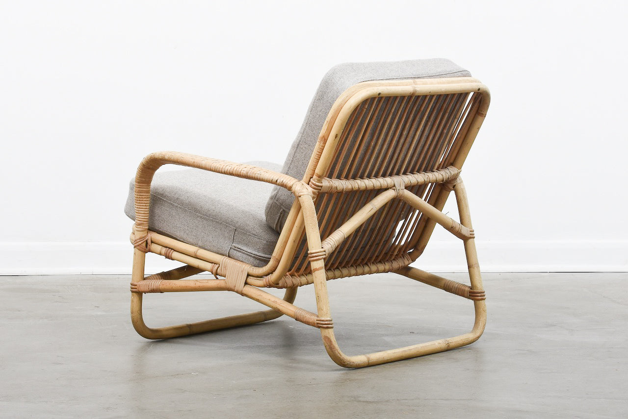 1960s bamboo lounge chair with new wool cushions
