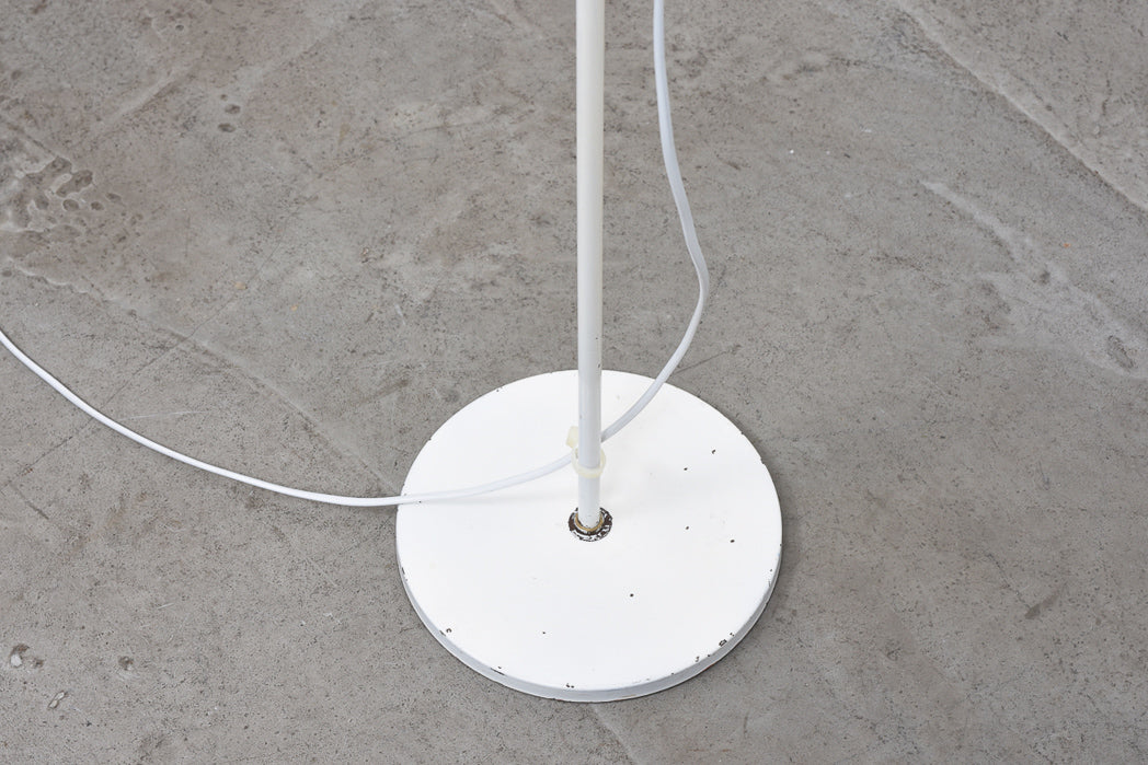 Vintage white floor lamp with curved stem