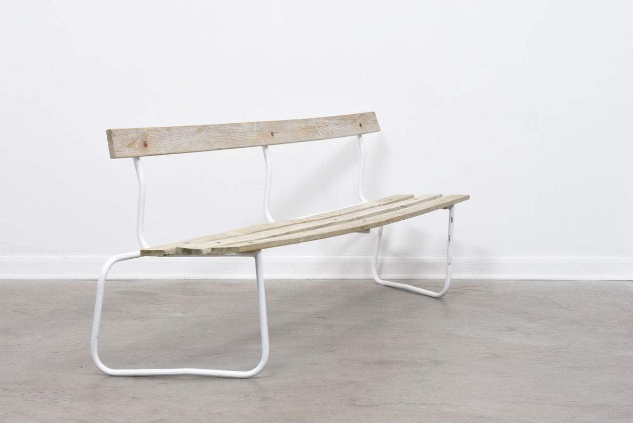 1960s Swedish pine + metal bench