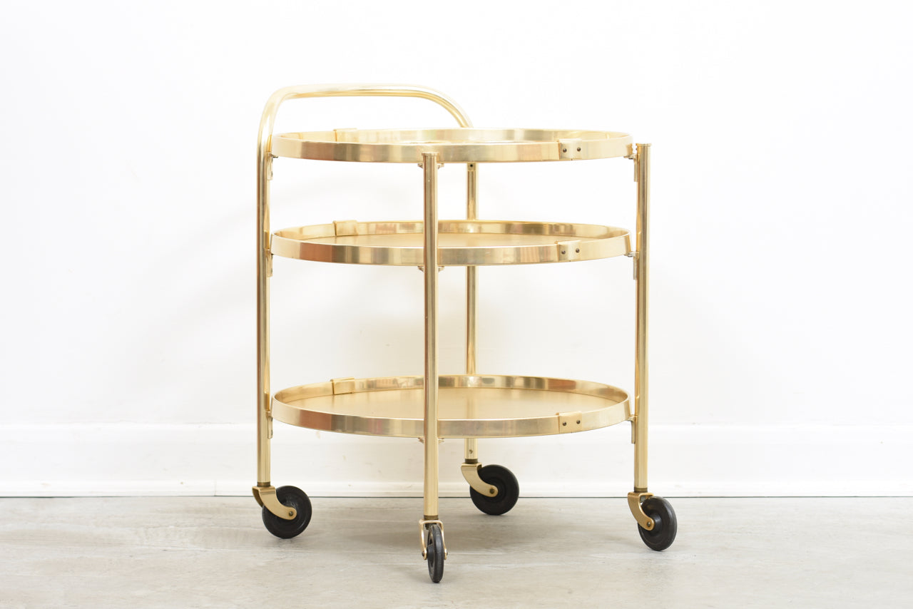 1970s brass drink trolley