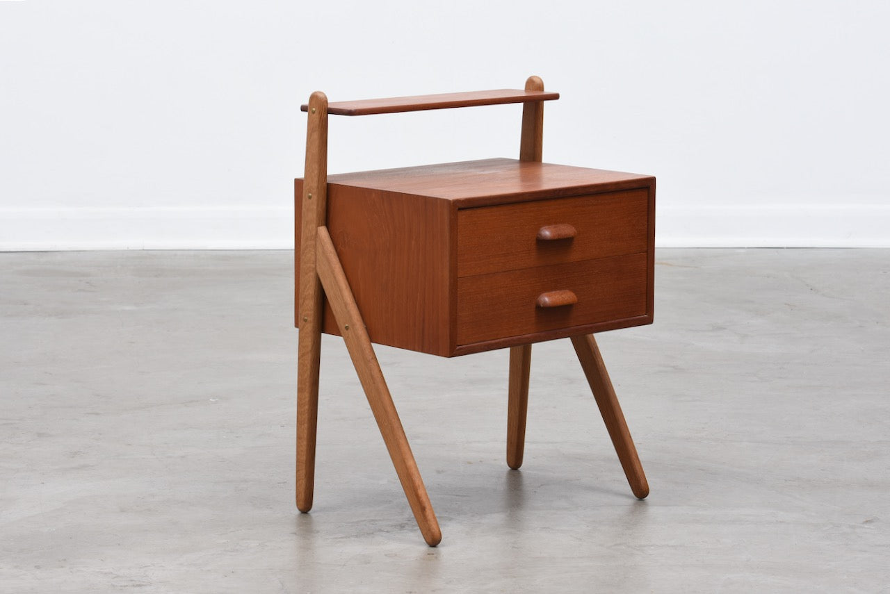 1960s teak + oak bedside table