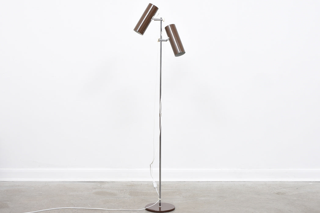 Vintage twin-headed floor lamp with brown shades