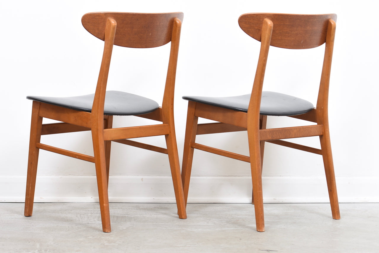 Two available: Teak + beech dining chairs by Farstrup