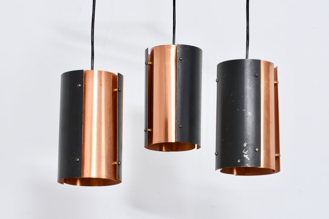1960s copper + black metal chandelier