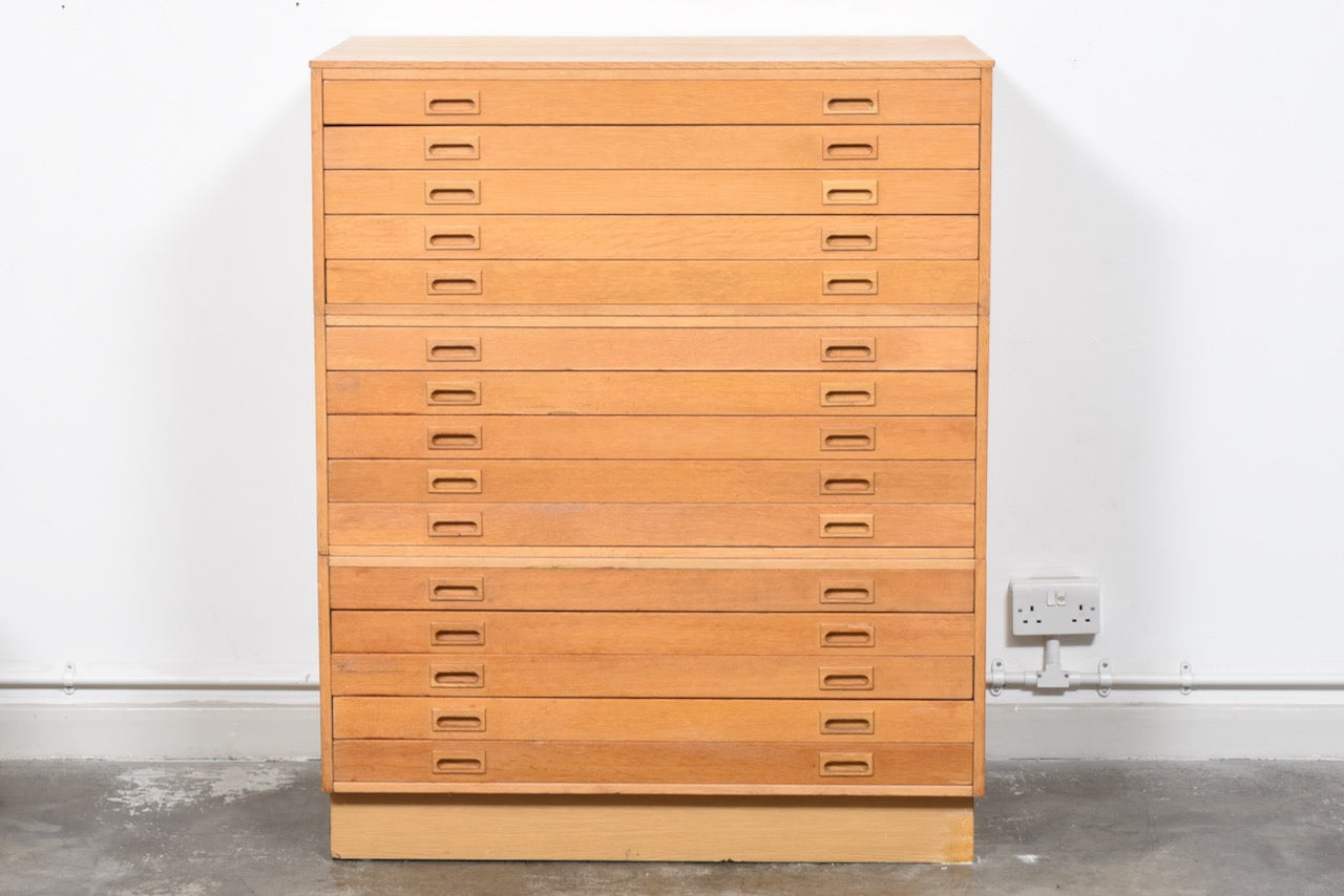 1960s oak plan chest