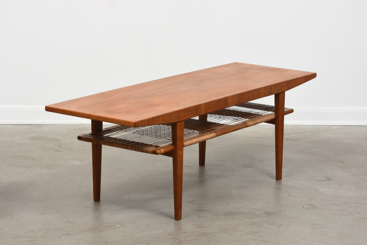 1960s teak coffee table with magazine shelf