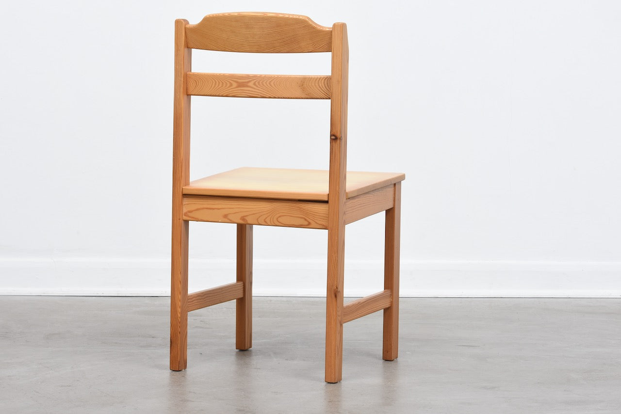 Six available: 1970s Swedish pine chairs